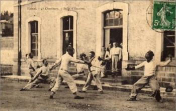 Epinal 4e Chasseurs. Salle d'Escrime, 1911.