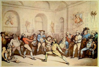 H. Angelo's Fencing Academy by Rowlandson, 1787.