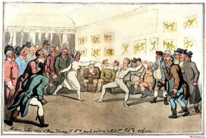 Madame Collie Fencing at Angelo's, by Thomas Rowlandson, 1816.
