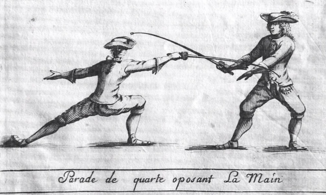 Parade de Quarte Oposant La Main, L'Abbat, The Art of Fencing, or the Use of the Small Sword, 1734.